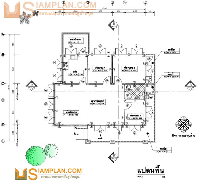 © siamplan.com แบบบ้านอยู่อย่างกว้างขวาง (รหัส FP019) บ้านชั้นเดียว 3 ห้องนอน, 1 ห้องน้ำ พื้นที่ใช้ซอย 124 ตารางเมตร