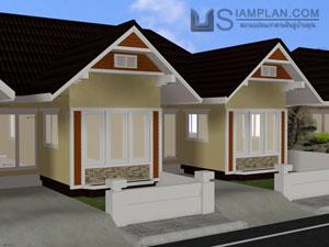© siamplan.com แบบบ้านอยู่คู่กัน (รหัส FP004) บ้านแฝด 2 ห้องนอน, 1 ห้องน้ำ พื้นที่ใช้ซอย 59 ตารางเมตร/หลัง