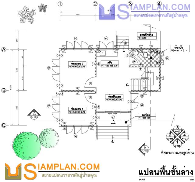 แบบบ้านอยู่กับลูกก็ดีนะ (รหัส FP015) บ้านชั้นครึ่ง 3 ห้องนอน, 1 ห้องน้ำ พื้นที่ใช้ซอย 85 ตารางเมตร © siamplan.com
