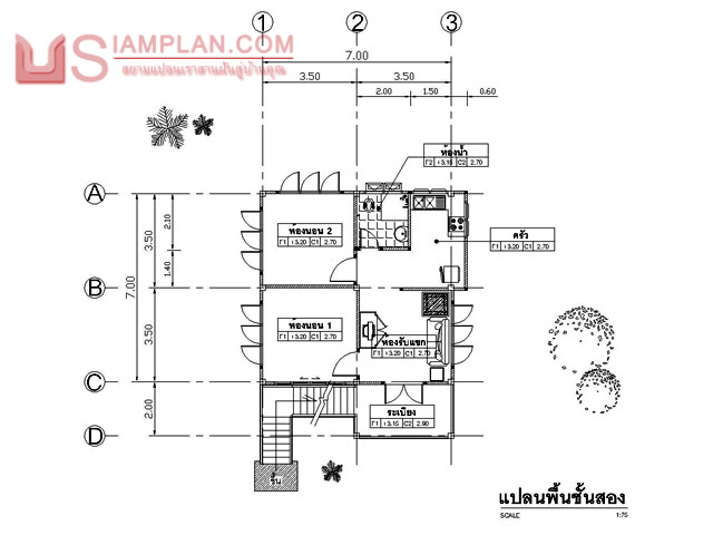 © siamplan.com แบบบ้านอยู่ปลอดภัย (รหัส FP003) บ้านสองชั้น 2 ห้องนอน, 1 ห้องน้ำ พื้นที่ใช้ซอย 112 ตารางเมตร