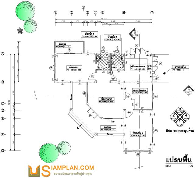 แบบบ้านอยู่อย่างมั่งคั่ง (รหัส FP010) บ้านชั้นเดียว 2 ห้องนอน, 2 ห้องน้ำ พื้นที่ใช้ซอย 123 ตารางเมตร © siamplan.com